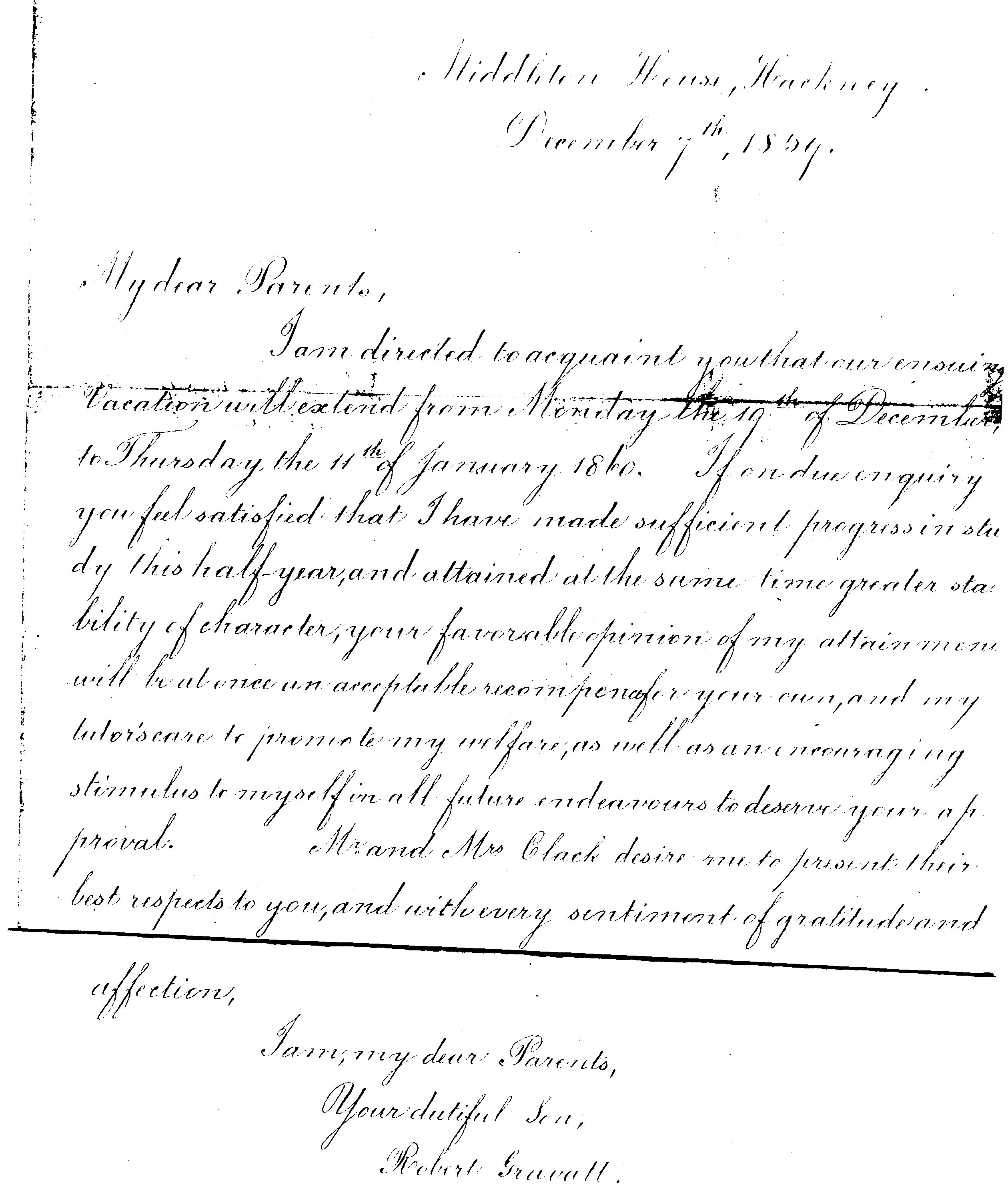 Letter from Robert Gravatt to his parents 1859