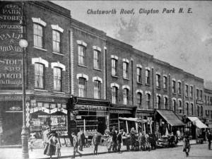J Dellor, butcher's shop, 75 Chatswoth Road, Clapton c 1910