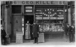 Alice and her father George Shilton at the Kille shop c 1900